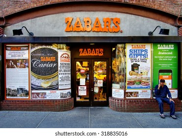 NEW YORK, NY -19 SEPTEMBER 2015- Zabars is a specialty food store located on Broadway on the Upper West Side of Manhattan. It is famous for its deli and smoked fish products.