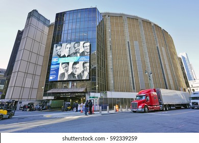 NEW YORK, NY -2 MAR 2017- Madison Square Garden (MSG) is a multipurpose sports and concert arena located above Penn Station in the Chelsea neighborhood of New York.