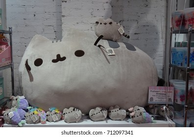 NEW YORK, NY -20 JUL 2017-  Sugar candy stores carry Pusheen the Cat plush and gifts and host Pusheen parties. Pusheen is a popular cartoon character.