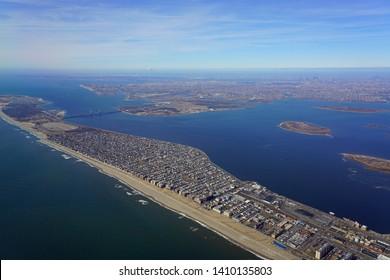 NEW YORK, NY -21 FEB 2019- Aerial view of the Manhattan skyline in New York City seen from an airplane near John F. Kennedy international airport (JFK).