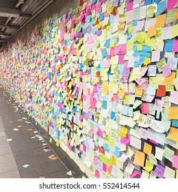 NEW YORK, NY - 22 NOVEMBER 2016: People post sticky post-it notes on wall in Union Square subway station in NYC after election results