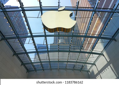 NEW YORK, NY -26 AUG 2018- View of a large Apple store in New York City near Lincoln Center.
