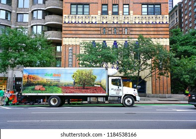 NEW YORK, NY -26 AUG 2018- View of a Fresh Direct delivery truck on the street in New York City. Fresh Direct is an online grocer delivering in the New York area.