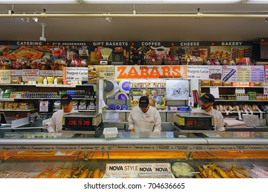 NEW YORK, NY -27 AUG 2017- Zabars is a specialty food store located on Broadway on the Upper West Side of Manhattan. It is famous for its deli and smoked fish products.
