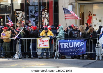New York, NY - 3.23.2019: Happy no collusion day! Trump supporters take to streets of New York. A rally of about 150 Donald Trump supporters took place outside of Trump Tower on New York's 5th Avenue