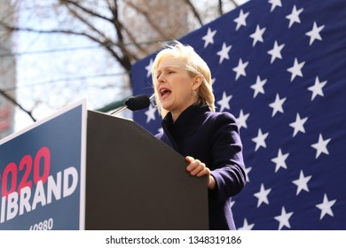 New York, NY - 3.24.2019:  US Senator Kirsten Gillibrand (D-NY) officially launched her presidential campaign today, giving a speech outside the Trump International Hotel and Tower in New York City