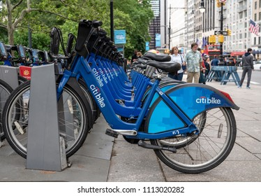 NEW YORK, NY - 4 JUNE 2018: Row of bicycles for rental in CitiBike scheme in New York City in the USA