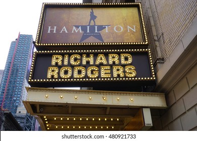 NEW YORK, NY -4 SEPTEMBER 2016- The musical Hamilton created by Lin Manuel Miranda has been playing in the Rodgers Theater on Broadway since August 2015. It won 11 Tony awards in 2016.