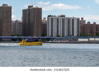 NEW YORK, NY - 5 JUNE 2018: Ferry for students of NYU Langone on the East River in New York