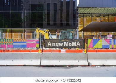 NEW YORK, NY -6 AUG 2019- View of construction at the Museum of Modern Art (MOMA) in New York City, currently under renovation.