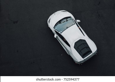 New York, NY - 9/29/17 - Looking down on the 2017 Lamborghini Huracan in white.