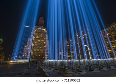 New York, NY - 9/8/2017: Private Viewing of Tribute in Lights 2017 -  Given by the 9/11 Memorial & Museum for select guests, creators, sponsors and staff. Battery Parking Garage.