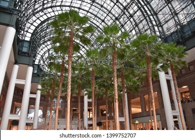 NEW YORK, NY - APR 14: Brookfield Place in Manhattan, New York, as seen on April 14, 2019. Also known as World Financial Center,  it is a shopping center and office complex in the Battery Park area.