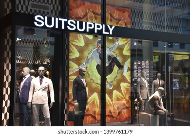 NEW YORK, NY  APR 14: Suitsupply at Brookfield Place in Manhattan, New York, on April 14, 2019. Also known as World Financial Center,  its a shopping and office complex in the Battery Park area.