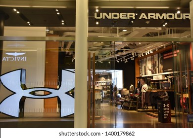 NEW YORK, NY - APR 14: Under Armour store at Oculus of the Westfield World Trade Center Transportation Hub in New York, as seen on April 14, 2019. The mall opened on August 16, 2016.