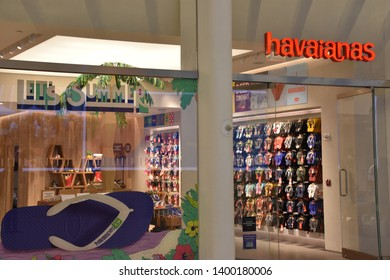 NEW YORK, NY - APR 14: Havaianas store at Oculus of the Westfield World Trade Center Transportation Hub in New York, as seen on April 14, 2019. The mall opened on August 16, 2016.
