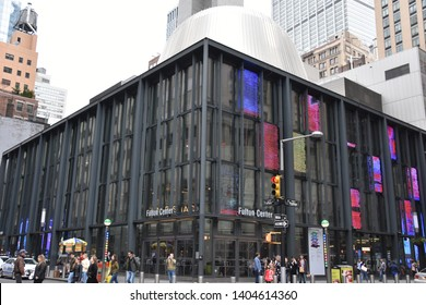 NEW YORK, NY – APR 14: Fulton Center in Manhattan, New York, on April 14, 2019. Its a transit center and retail complex centered at the intersection of Fulton Street and Broadway in Lower Manhattan.