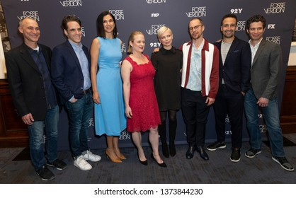 New York, NY - Apr 18, 2019: Joel Fields, Steven Levenson, Radhika Jones, Nicole Fosse, Michelle Williams, Sam Rockwell, Lin-Manuel Miranda, Thomas Kail attend Fosse/Verdon Screening at 92nd Street Y