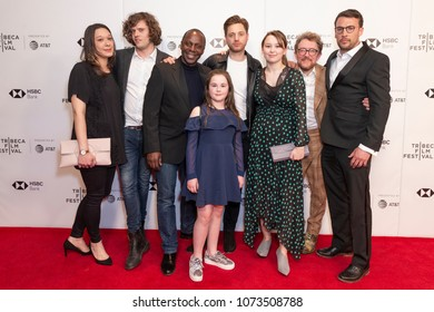 New York, NY - Apr 20 2018: Sian Clarke, Simon Lord, Cyril Nri, Jemima Newman, James Gardner, Nikolas Holttum, Liv Hill, Tomos Eames attend Jellyfish premiere during Tribeca Film Festival at Cinepolis