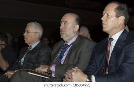 NEW YORK, NY - APRIL 06, 2014: (R-L) Jerusalem mayor Nir Barkat & Israeli Ambassador Ron Prosor attend Jerusalem Post Annual Conference in Marriott Marquis Times Square