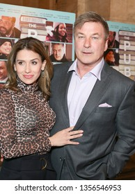 New York, NY - April 1, 2019: Hilaria Baldwin and Alec Baldwin attend premiere of The Public movie at New York Public Library