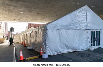 New York, NY - April 1, 2020: View of tents set up at Maimonides Medical Center in Brooklyn where patients for COVID-19 have been treated