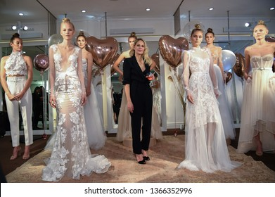 NEW YORK, NY - APRIL 10: Designer Eisen Stein and Models posing during the Eisen Stein Spring 2020 bridal presentation at New York Fashion Week: Bridal on April 10, 2019 in NYC.