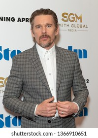 New York, NY - April 11, 2019: Ethan Hawke attends premiere of movie Stockholm at Museum of Modern Art