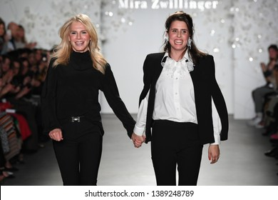 NEW YORK, NY - APRIL 11: (L-R) Designers Mira Zwillinger and Lihi Zwillinger walk the runway at the conclusion of their Mira Zwillinger 2020 Collection during NYFW Bridal on April 11, 2019 in NYC