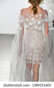 NEW YORK, NY - APRIL 11: A model walks the runway during the Mira Zwillinger Spring 2020 fashion collection at New York Fashion Week: Bridal on April 11, 2019 in NYC.