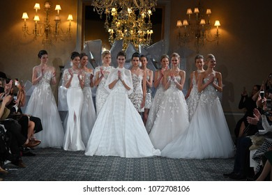 NEW YORK, NY - APRIL 12: Models posing on the runway during the Mira Zwillinger Spring 2019  Bridal fashion show on April 12, 2018 in New York City.