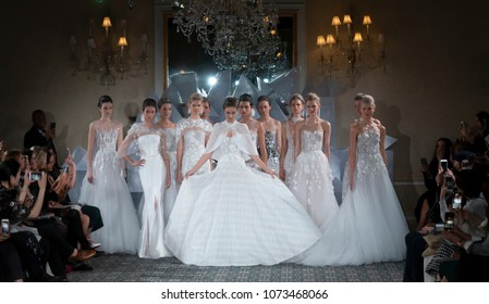 NEW YORK, NY - April 12, 2018: Models pose at the Mira Zwillinger Bridal Spring 2019 Collection Show during NY Fashion Week Bridal