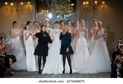 NEW YORK, NY - April 12, 2018: Designers Mira and Lihi Zwillinger pose at the Mira Zwillinger Bridal Spring 2019 Collection Show during NY Fashion Week Bridal