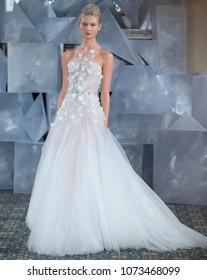 NEW YORK, NY - April 12, 2018: A model walks the runway at the Mira Zwillinger Bridal Spring 2019 Collection Show during NY Fashion Week Bridal
