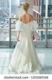 NEW YORK, NY - April 12, 2018: A model walks the runway at the Gracy Accad Bridal Spring 2019 Collection Runway Show during NY Fashion Week Bridal