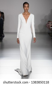 NEW YORK, NY - APRIL 12: A model walks the runway  during the Amsale Bridal Spring 2020 fashion collection at New York Fashion Week: Bridal on April 12, 2019 in NYC.