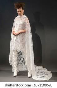 NEW YORK, NY - April 13, 2018: A model poses at the Naeem Khan Bridal Spring 2019 Collection Presentation Show during NY Fashion Week Bridal