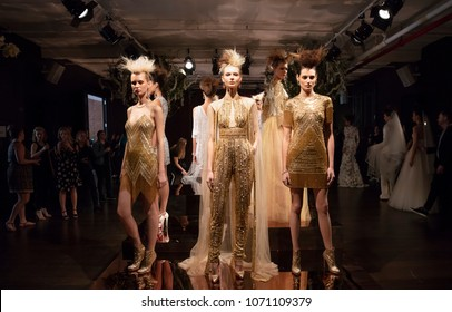 NEW YORK, NY - April 13, 2018: Models pose at the Naeem Khan Bridal Spring 2019 Collection Presentation Show during NY Fashion Week Bridal