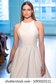 NEW YORK, NY - April 13, 2018: A model walks the runway at the Justin Alexander Bridal Spring 2019 Collection Runway Show during NY Fashion Week Bridal