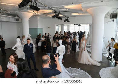 NEW YORK, NY - APRIL 13: Mannequins and general atmosphere during the Nicole by Pronovias Spring 2020 bridal presentation at New York Fashion Week: Bridal on April 13, 2019 in NYC.