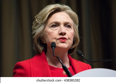 NEW YORK, NY - APRIL 13, 2016: Hillary Clinton speaks at the National Action Network 25th annual convention. This is one of her many speeches during the presidential campaign.