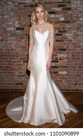 NEW YORK, NY - April 14, 2018: A model poses at the Maggie Sottero Bridal Spring 2019 Collection Presentation Show during NY Fashion Week Bridal
