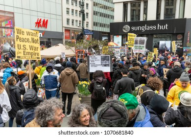 New York, NY - April 15, 2018: People protest during anti-US rally by Take Action NYC Leftists organizations on Herald Square