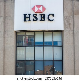New York, NY - April 16, 2019: Exterior of HSBC Bank branch building with logo. HSBC is the multinational banking and financial services holding company one of the largest bank in the world.