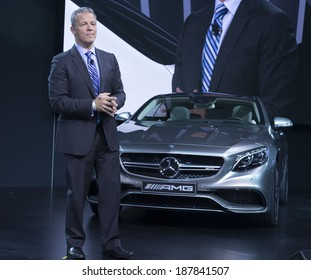 New York, NY - APRIL 16, 2014: President and CEO of Mercedes Benz USA Steve Cannon speaks at S63 AMG Coupe edition 2015 presentation at New York International Auto Show