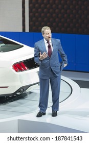 New York, NY - APRIL 16, 2014: Ford Motor Company Executive Chairman Bill Ford speaks at New York Auto Show celebrating Ford Mustang 50th Anniversary 2015 Mustang GT 5.0  Limited Edition is on display
