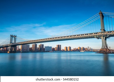 NEW YORK, NY - APRIL 16, 2016: View of Manhattan Bridge and Manhattan from Brooklyn on April 16, 2016 in New York City.