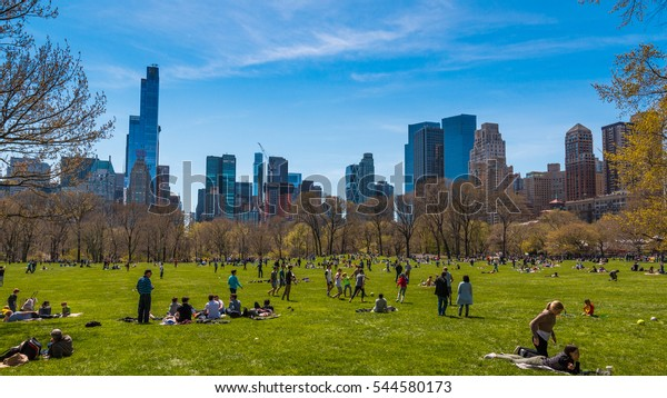 NEW YORK, NY - APRIL 16, 2016: Sheep Meadow, Central Park on April 16, 2016 in Manhattan, New York City.