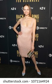 New York, NY - April 17, 2018: Nimue Smit wearing dress by Moschino attends Backstabbing for Beginners premiere in iPic Theater at Fulton Market