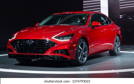 New York, NY - April 17, 2019: Presentation of Hyundai Sonata sedan and Venue SUV at 2019 New York International Auto Show at Jacob Javits Center